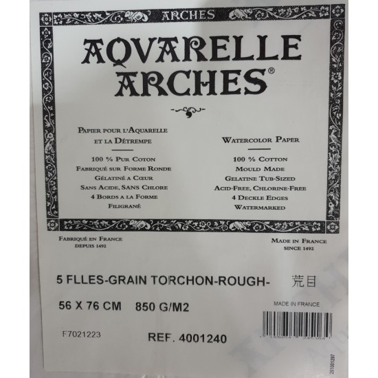 ARCHES WATERCOLOR 850 GSM ROUGH GRANA TORCHON 100% COTTON SIZE 56*76