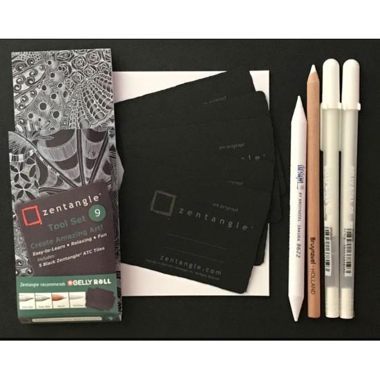 طقم رقم 9 زينتنجل للأبتكار 2 قلم أبيض جيلي رول انك رأس كروي 0.8 + رصاص ابيض + قلم دمج + 5 ورقات اسود من ساكورا اليابانية